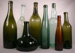 19th Century winr and champagne bottles