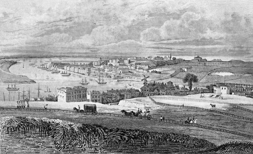 "Chatham Dockyard from Port Pitt, engraved by R.Rolfe, published in Ireland's ""History of Kent"" 1831."