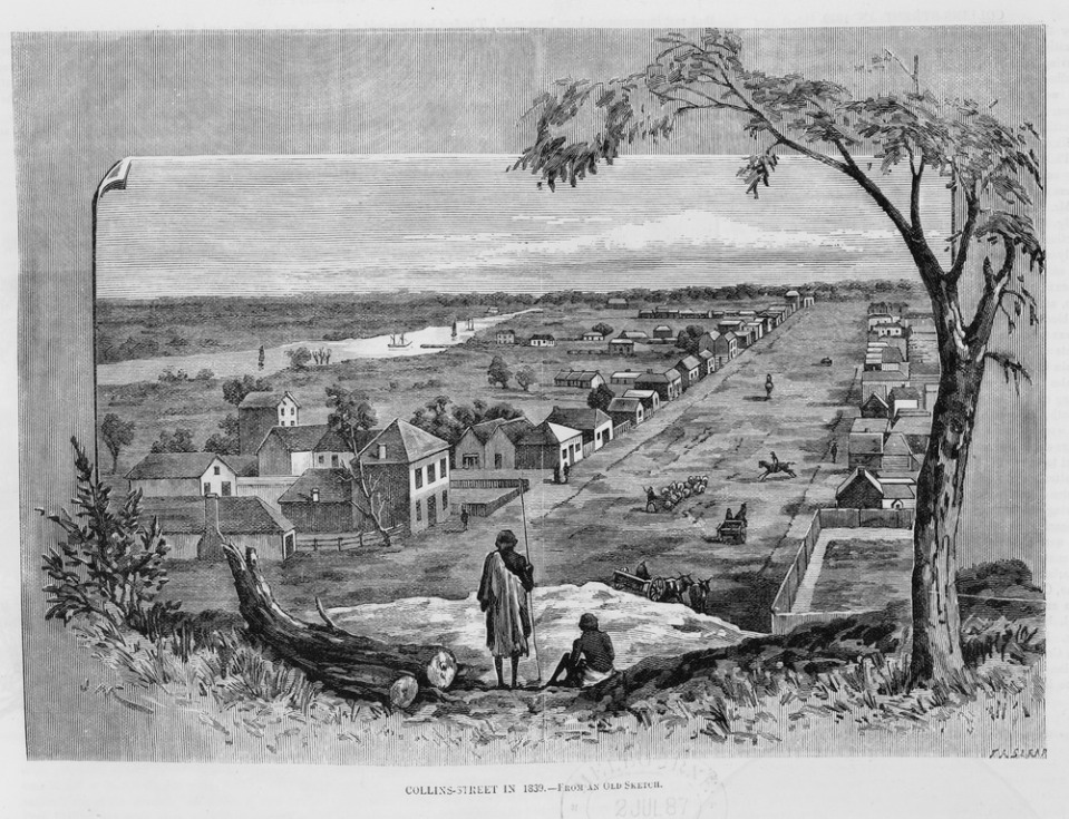Collins Street 1839, by F.A.Sleat, engraver Acc: IAN25/06/87/SUPP/5 (Courtesy SLV