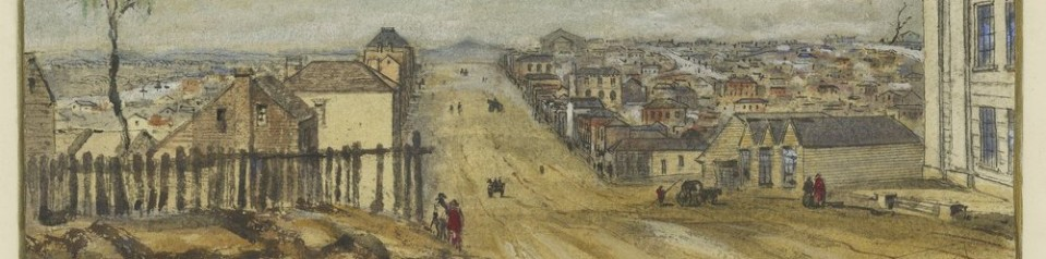 Detail from Melbourne from Collins Street East by R. Russell, 1840. (Courtesy SLV)