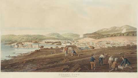 Hobart in 1830 by RG Reeve 1811-37 NMA