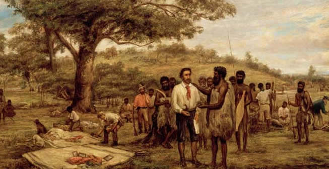 Batman's treaty with the Aborigines at Merri Creek, 6th June, 1835, by J.W.Burtt (Courtesy SLV)