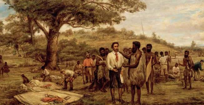 Batman's treaty with the Aborigines at Merri Creek, 6th June, 1835, by J.W.Burtt (Courtesy SLV)