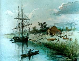 The Enterprize in the Yarra, 1835 (Courtesy SLV)