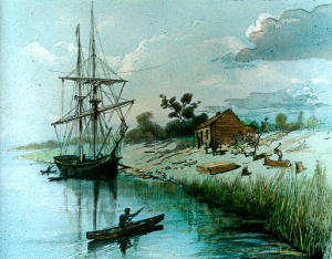 The Enterprize in the Yarra, 1835 (Courtesy SLV)