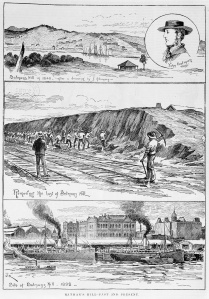 llustration depicting the changes to Batman's Hill between 1840 and 1892 (Courtesy SLV)