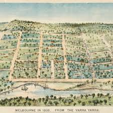 Melbourne in 1838 from the Yarra Yarra by Clarence Woodhouse Acc No: H 24502 (Courtesy SLV)