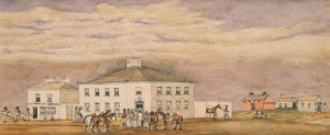 The Melbourne Club and Patriot Office by W.F.E. Liardet (Courtesy SLV) . This is the original premises. It was replaced by the building at 36 Collins Street in 1858.