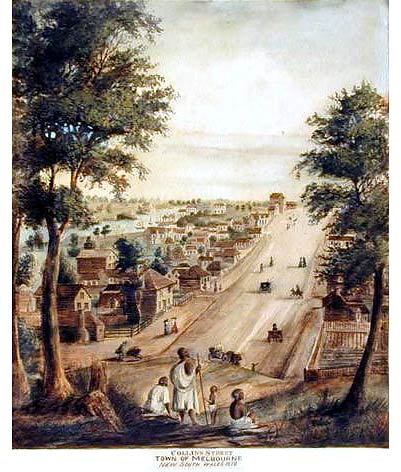 Collins Street-Town of Melbourne, Port Phillip NSW, 1840. Lithograph by Elisha Noyce Acc: H18111 (Courtesy SLV)