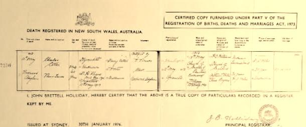 Charles Henri Death Certificate 1913