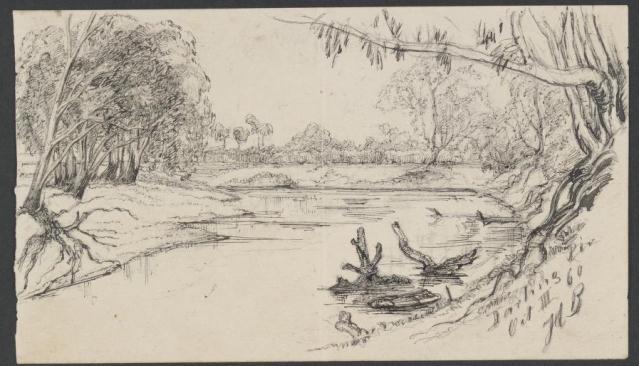 Image 9-6 sketch darling river providence paddlesteamer
