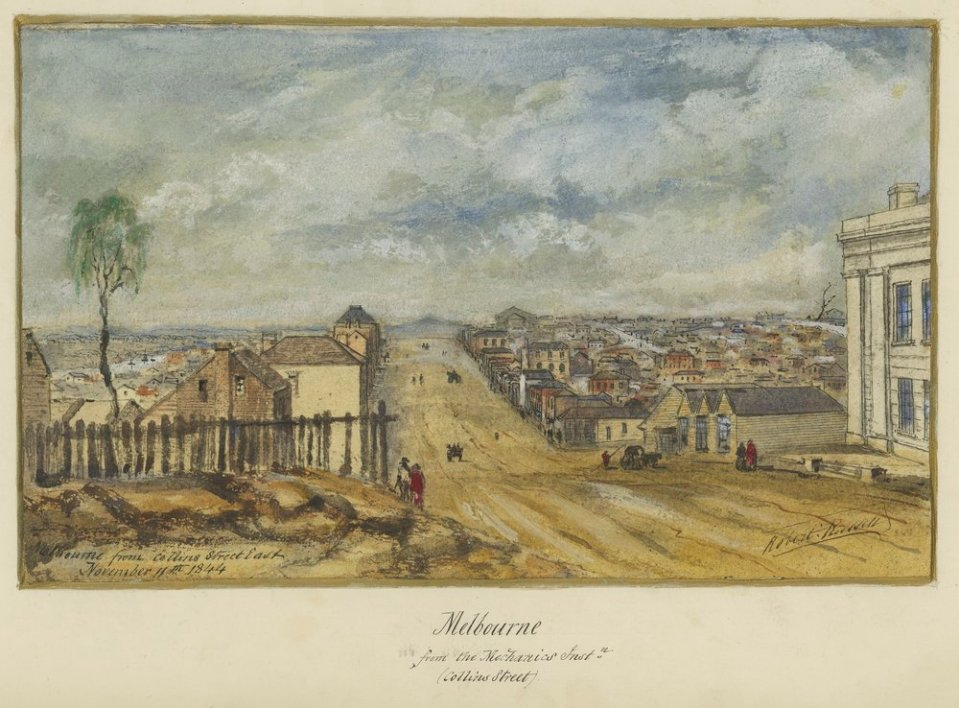 Melbourne from Collins Street East by Robert Russell, 1844 (Courtesy SLV)