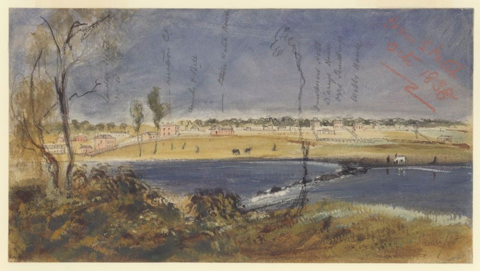Melbourne from the Falls 1838, by R.Russell (Courtesy SLV)