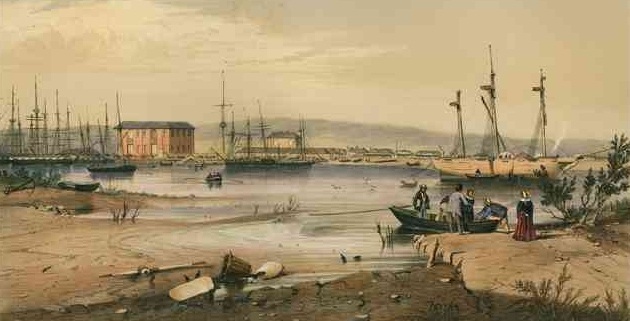 Port Adelaide, lithograph based on drawing by George French Angas (Courtesy State Library of South Australia)