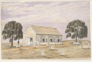 St James' Church and School by W.F.E. Liardet (Courtesy SLV)