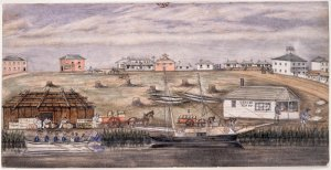 The Landing Place and Market Square 1839, by W.F.E. Liardet (Courtesy SLV)